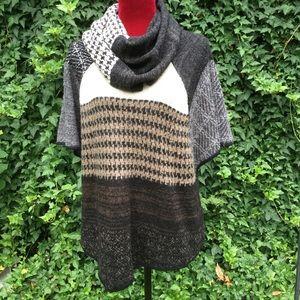 Curio New York, Cowl Neck Patch Block Sweater.